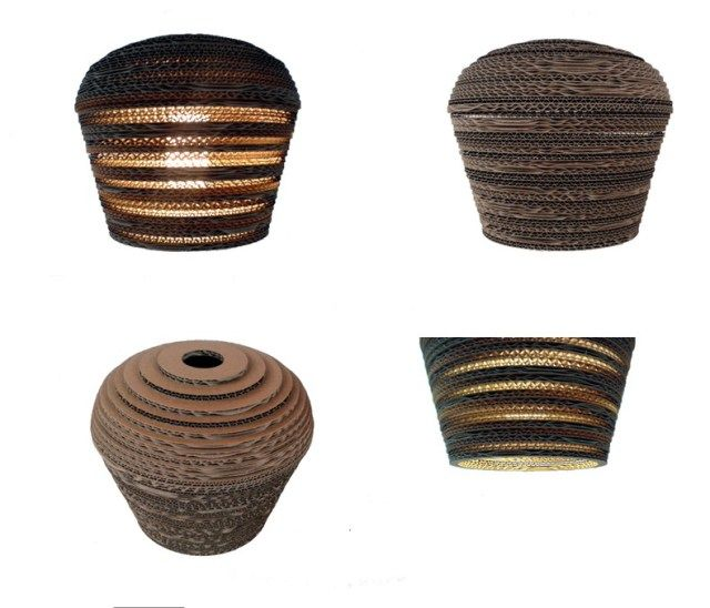PIN 25 - lampa z kartonu - Nazwa: Pin 25 / Średnica: 25 cm / Wysokość: 18,5 cm / Żarówka: max 60 W Cardboard lamp; #light #interior #home #design #homedesign #cardboard
