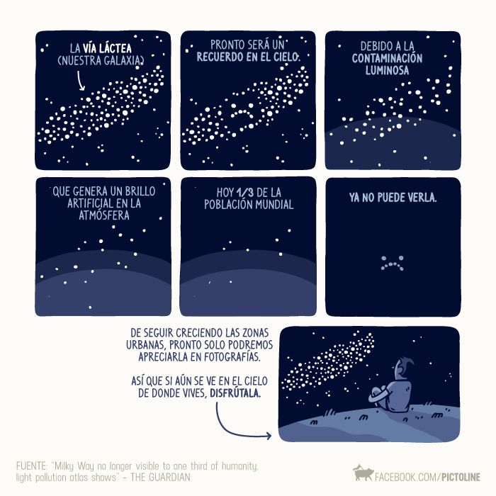Cada vez las ciudades crecen más y con ello arrastran perjuicios al medio ambiente, una de ellas es la de la contaminación lumínica. Si aun podés ver estrellas es el cielo desde tu casa, apreciala cuantas veces puedas, pues es probable que en un futuro cercano esto cambie perceptiblemente.   Fuente: https://www.facebook.com/pictoline/