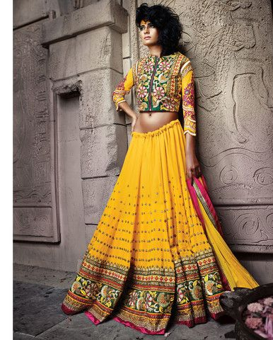 Yellow lehenga with heavy multicolored embroidery and sequins in the c – Rutbaa India