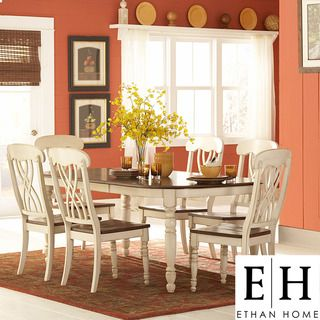 Ethan Home Mackenzie 7 Piece Country Style Two Tone Cherry Antique White Dining Set Cream Sets Wood