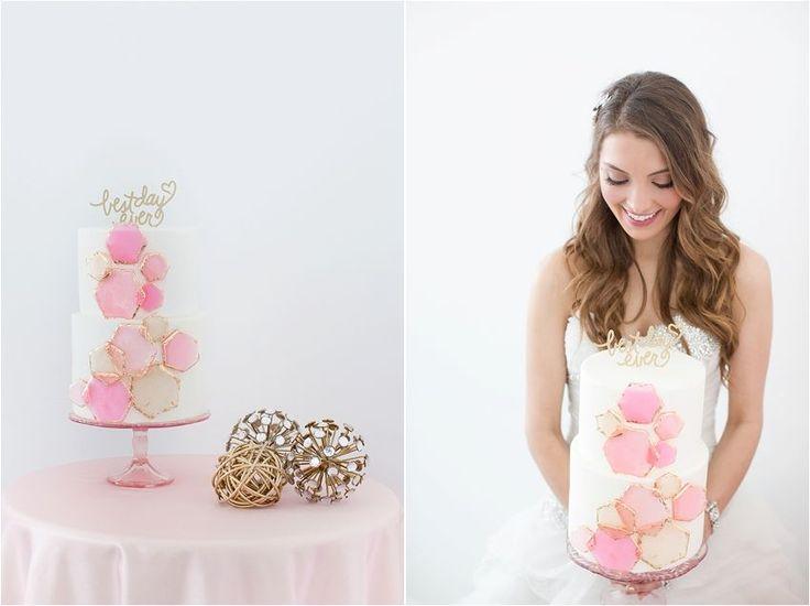 Gotgeous Geometric Honeycomb wedding cake!