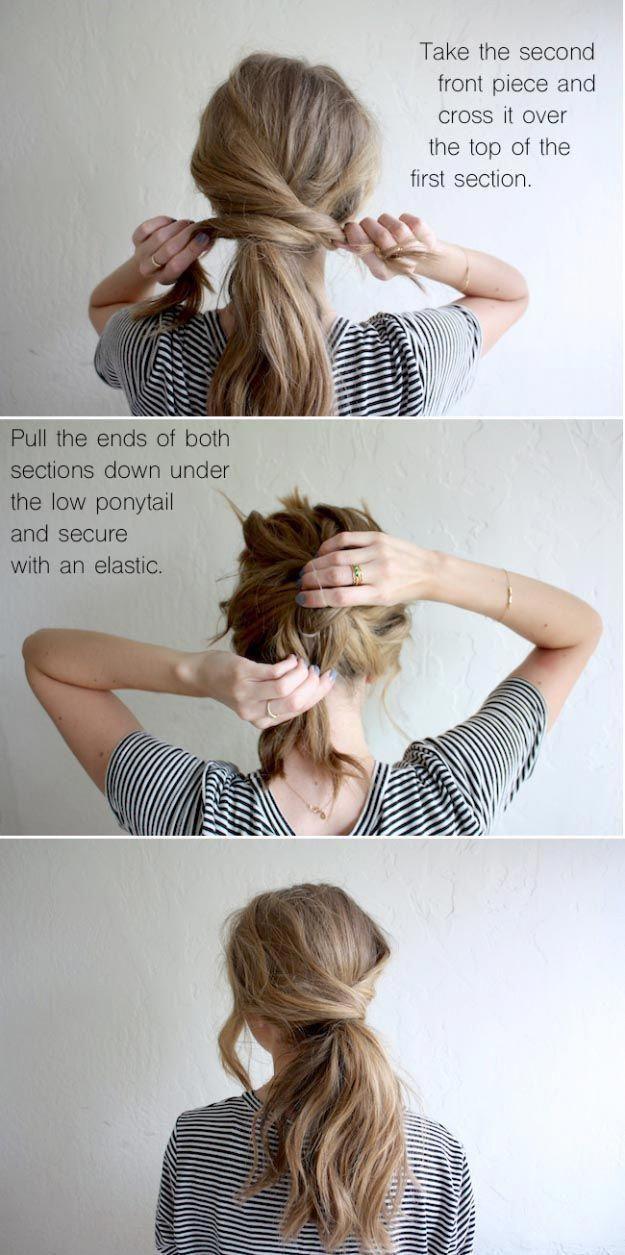 Long Hair Styles For 2017 Hair Tutorial Messy Crossover Pony Easy Tutorials For Long Hairstyles With La Long Thin Hair Effortless Hairstyles Easy Hairstyles