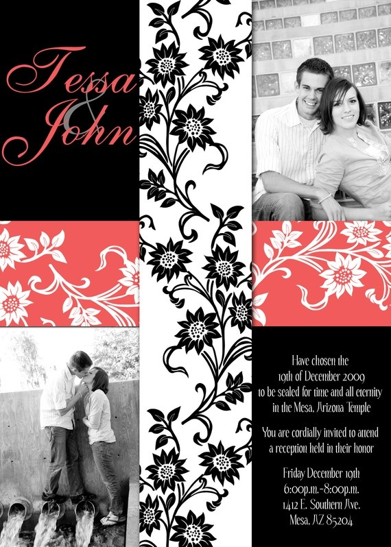 Coral and Black Wedding Invitation..but instead of black it will be turquoise