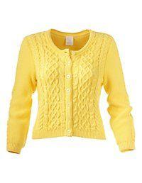 Madeleine Mode Vestje Puur katoen gebreid geel cardigan vest knitted yellow