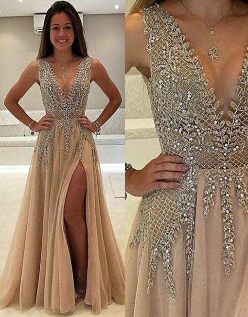 Champagne Deep V Prom Dress,Beaded Prom Dress,Fashion Prom Dress,Sexy Party Dress,Custom Made Evening Dress
