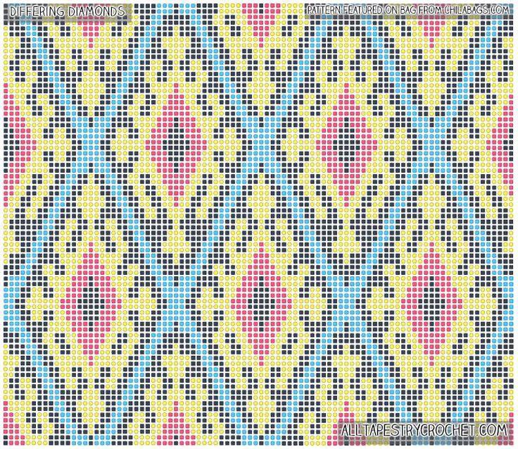 Differing Diamonds Tapestry Crochet Pattern - Free Tapestry Crochet Pattern Brought to You By AllTapestryCrochet.com