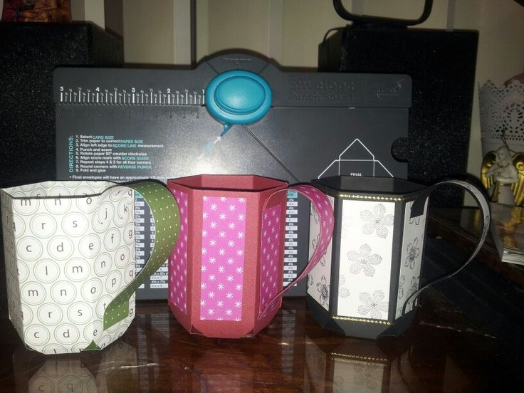 Mug gift holders made with cardstock, using We R Memory Keepers envelope punch board