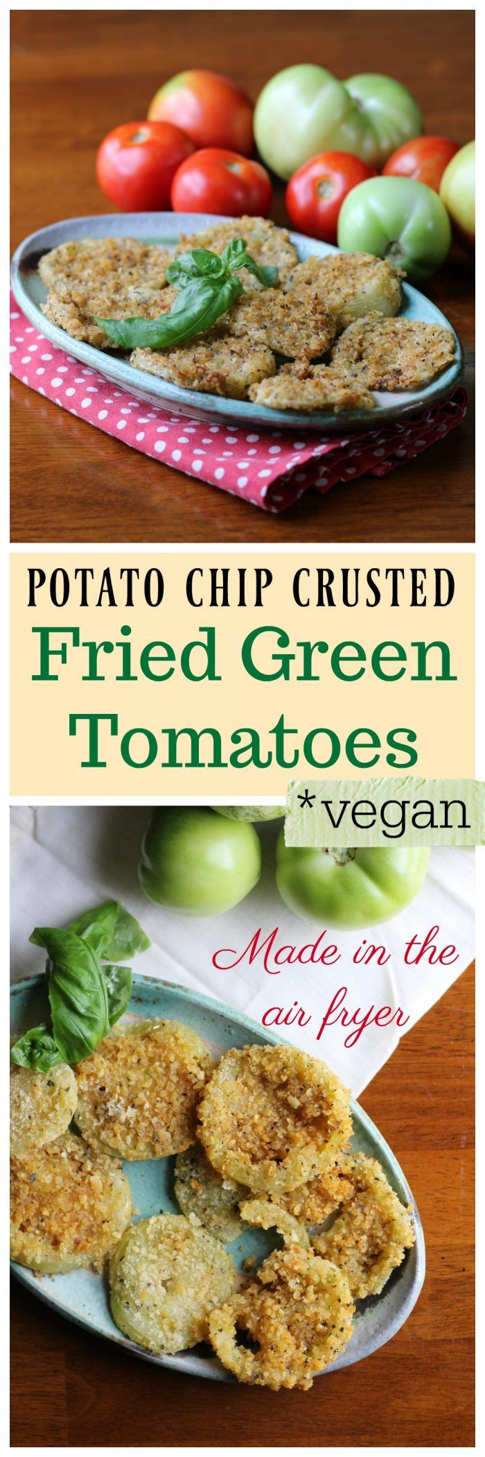 Vegan fried green tomatoes made in the air fryer. They are crusted with potato chips (for a gluten-free option) or panko bread crumbs. | cadryskitchen.com via @cadryskitchen