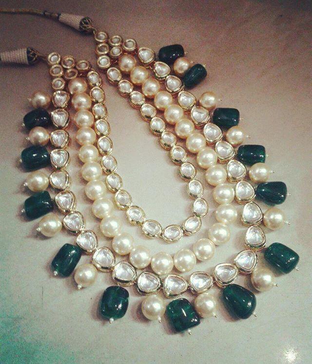 Elegantly Royal #pearls #kundan #emeralds #semiprecious #royal #ethnic #wedding…