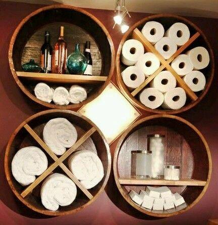 empty barrels can easy become storage decorative units