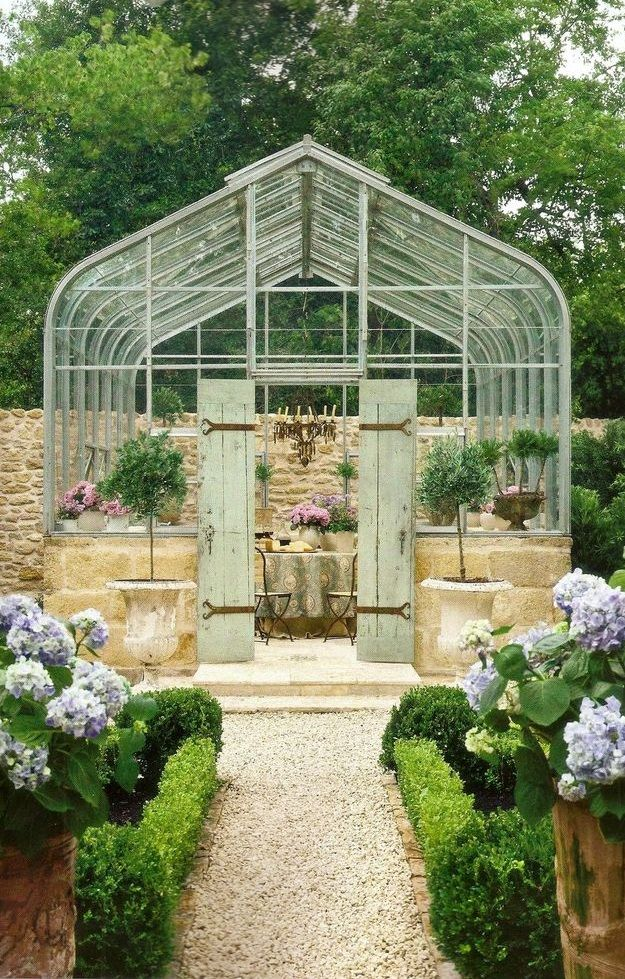 Provencal-style solarium w/ antique French limestone; Pamela Pierce