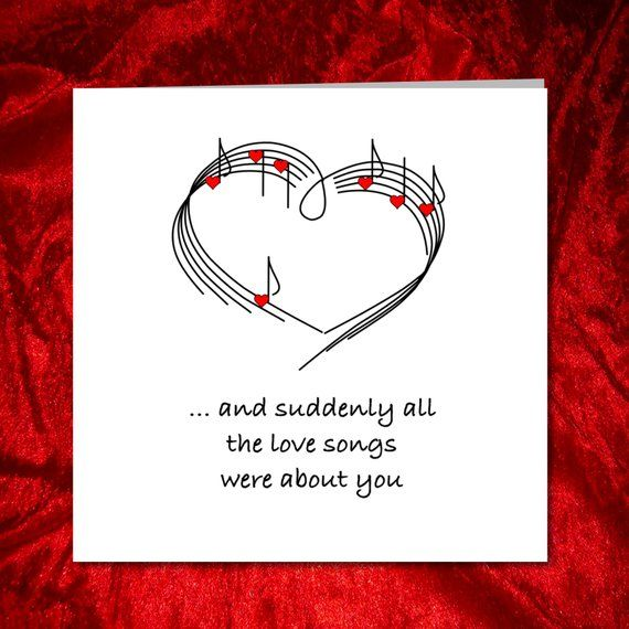 Love Song Anniversary Birthday Or Valentines Day Card For