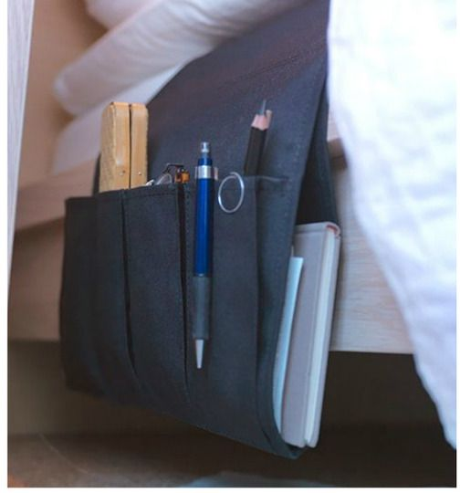 NEVER would've thought of this: slip this between your mattresses for at-hand things: glasses, book, etc....don't need a large bedside table then...LIKE it!!