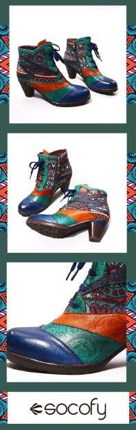 US$62.88 SOCOFY Bohemian Splicing Pattern Block Zipper Ankle Leather Boots