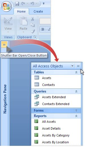 Microsoft Access 2010 - Show hidden objects