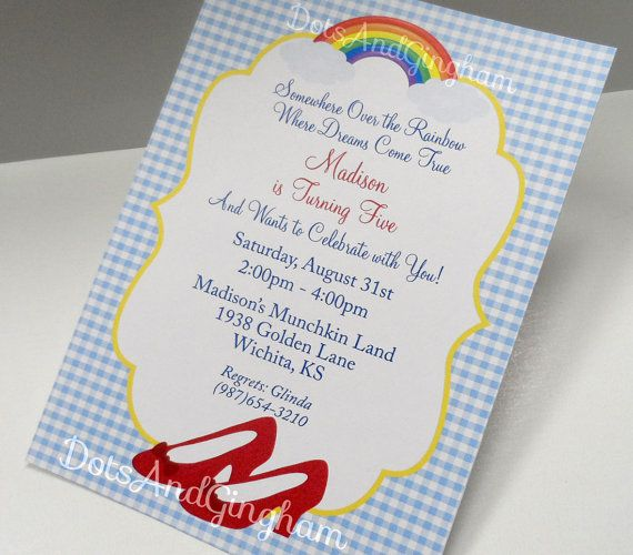 Wizard of Oz Invitation-Wizard of Oz Invite-Over by DotsAndGingham