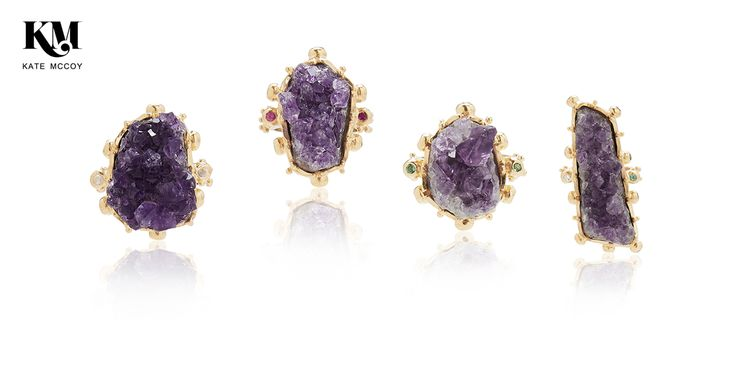 A collection of unique raw amethyst necklaces and rings set in sterling silver and finished in 18 karat yellow gold vermeil and surrounded by round brilliant cut precious gemstones.