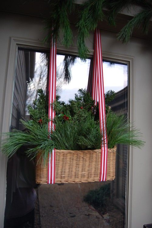 Shabby in love: Christmas porch. For the right door & style home this could be charming. Perhaps a side or back entryway!