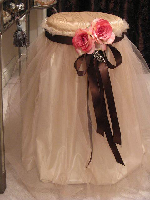 Romantic Shabby Stool idea-cute for a vanity table