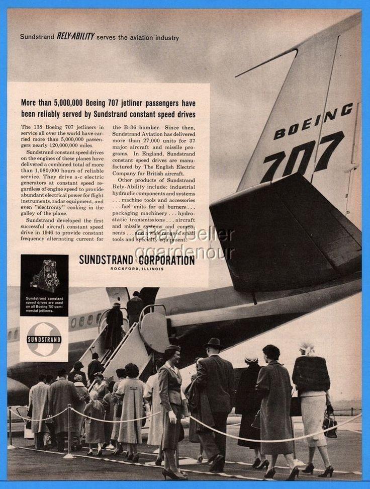 1960 Sundstrand Rockford IL Boeing 707 Jet Jetway Airport Boarding Stewardess Ad