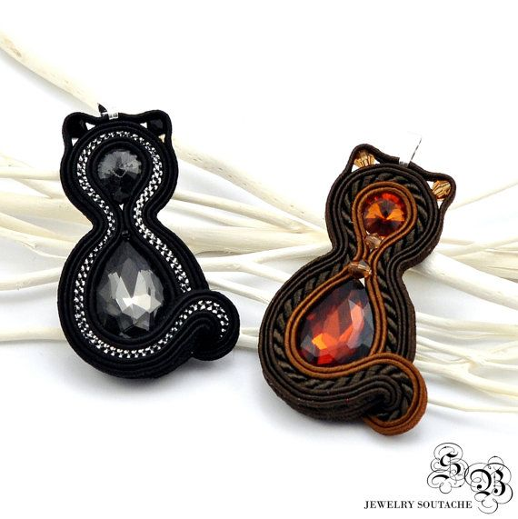 Soutache Pendant cats Soutache jewelry by SBjewelrySoutache                                                                                                                                                                                 Mehr