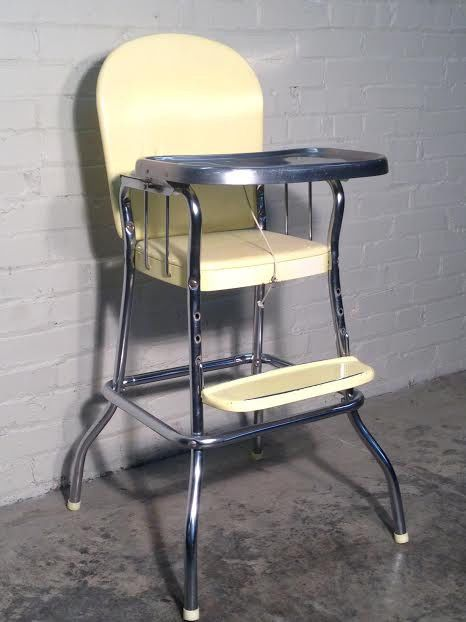 Vintage Mid Century Cosco High Chair Stainless Steel Tray