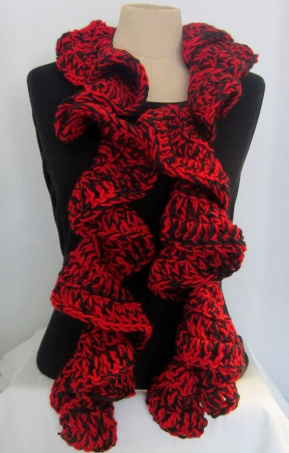 Knitted Christmas Bells Patterns : Crochet Scarf Ruffle! Red and Black Ruffle Scarf, Crochet Ruffle Scarf, Hand ...