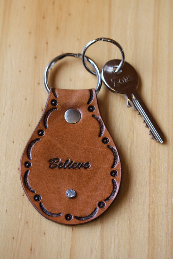 Hand Tooled Leather Believe Keychain by Tina's Leather Crafts on Etsy.com.  Repin To Remember.