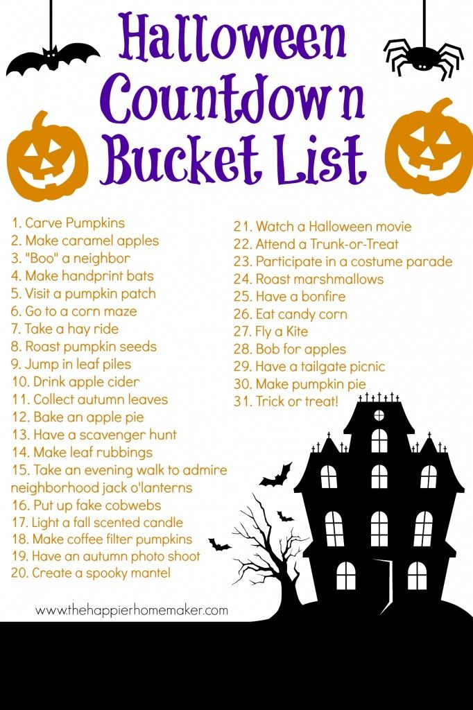 Halloween Countdown Bucket List {FREE Printable!!} - The Happier Homemaker K would be so excited if we did this, Halloween is her absolute favorite holiday.