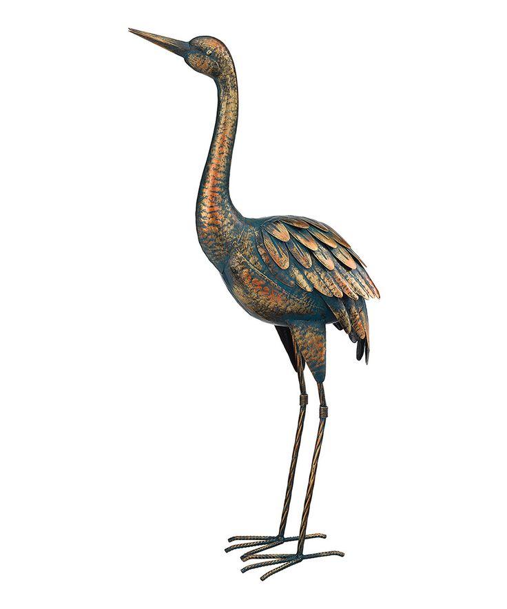 Patina Crane Garden Statue By Regal Art U0026