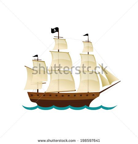 Pirate Sailing Ship. Vector design for app game user interface