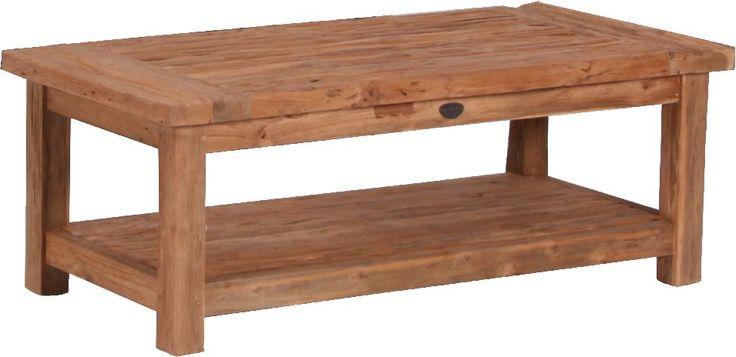 Loungetafel van oude teakhouten planken