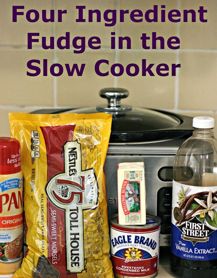 4 Ingredient Fudge in CrockPot Slow Cooker Easy fudge recipe