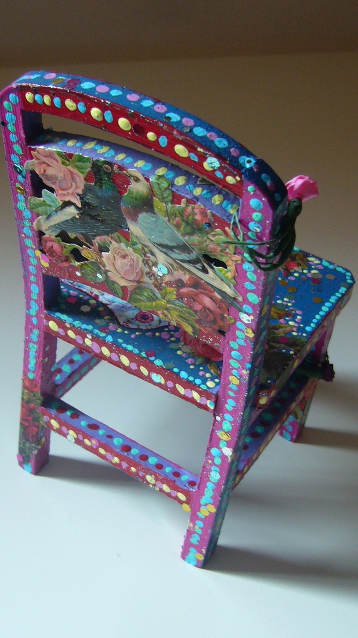 miniature chair folk art folklorico hand painted pink red and blue via etsy