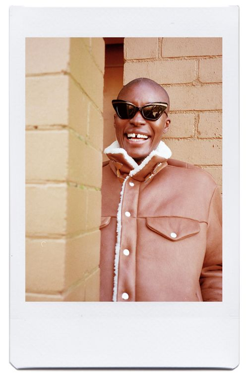 Memu wearing Karen Walker sunglasses and Rag & Bone jacket