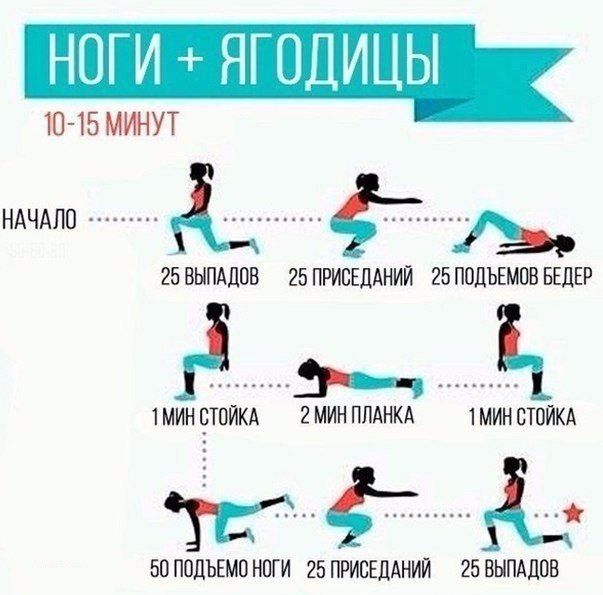 15-минутная тренировка для ног и ягодиц.