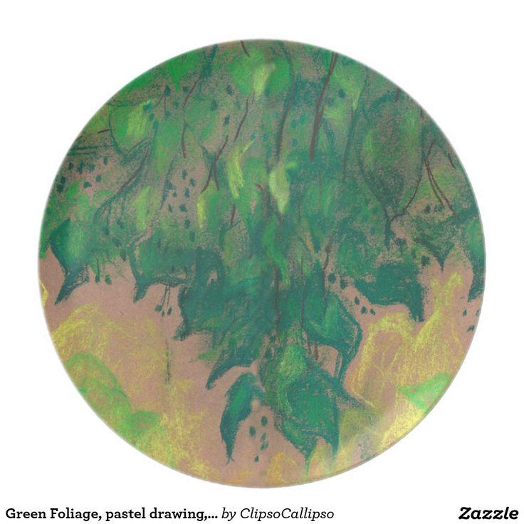 Green Foliage, pastel drawing, life sketch, nature Dinner Plate #summer, #sketch, #botanical, #floral, #foliage, #green, #greenery, #yellow, #nature, #art, #soft+pastels, #pastel, #traditional+art, #impressionism, #plants, #leaf, #leaves, #drawing,