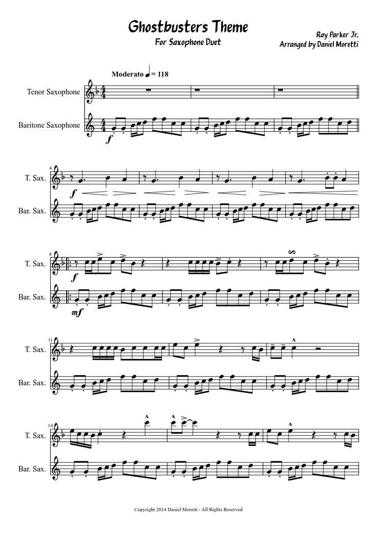 Sheet music made by daniel.moretti.52 for 2 parts: Tenor Saxophone, Baritone Saxophone