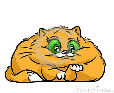 Fat red cat happy cartoon illustration   isolated image animal character