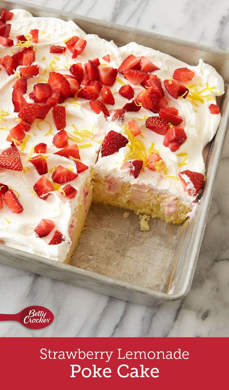 This fluffy lemon poke cake gets a surprising burst of flavor from Betty Crocker™ vanilla frosting mixed with pureed fresh strawberries. Finished with whipped topping, chopped fresh strawberries and lemon peel, it's a dessert that tastes like the sweetest days of summer.