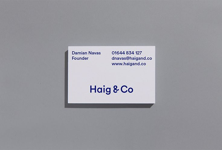 Picture of the business cards designed by Number 04 for the project Haig & Co. Published on the Visual Journal in date 17 September 2015
