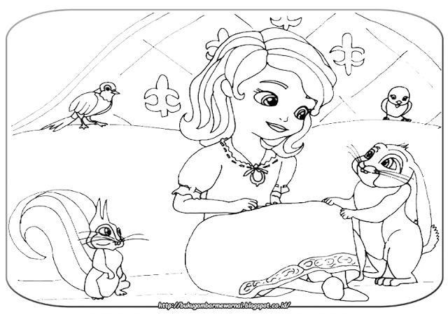 Gambar Mewarnai Putri Sofia - Gambar di atas adalah gambar mewarnai Putri Sofia. Dalam film anim...