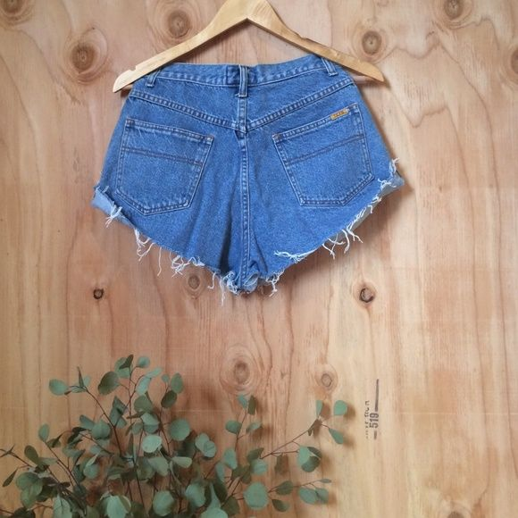 "Distressed Blue Denim Shorts Daisy Duke Shorts Vintage / measures: waist 28"" and length (back) 13"" Nasty Gal Jeans"