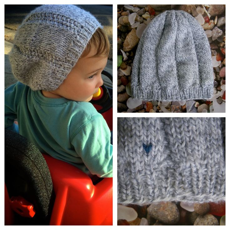 "Deco cruising the neighborhood in ""Summer Fog"" slouchy beanie for toddlers. Made with <3 by http://AlyssaPrice.com"