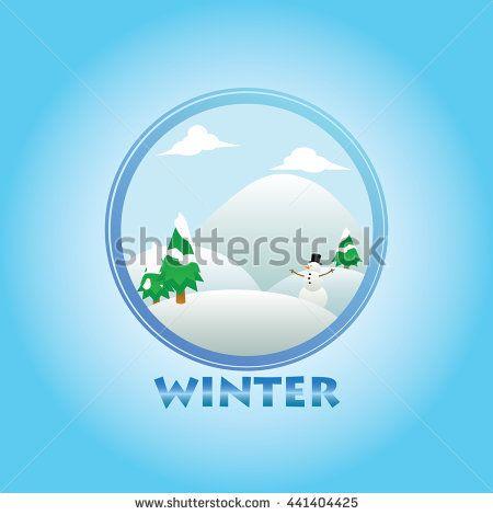 winter season themes circle vector