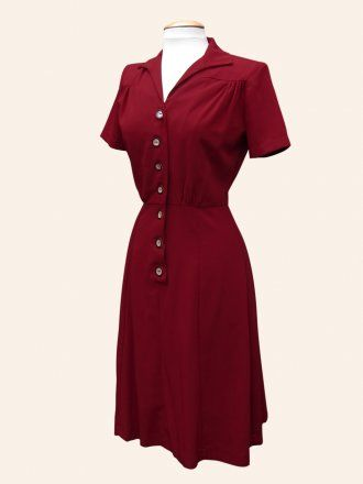 1940's style Tea Dress Utility Ruby