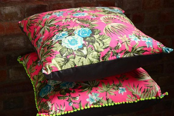 Giant neon pink cushions neon floral cushions neon pink