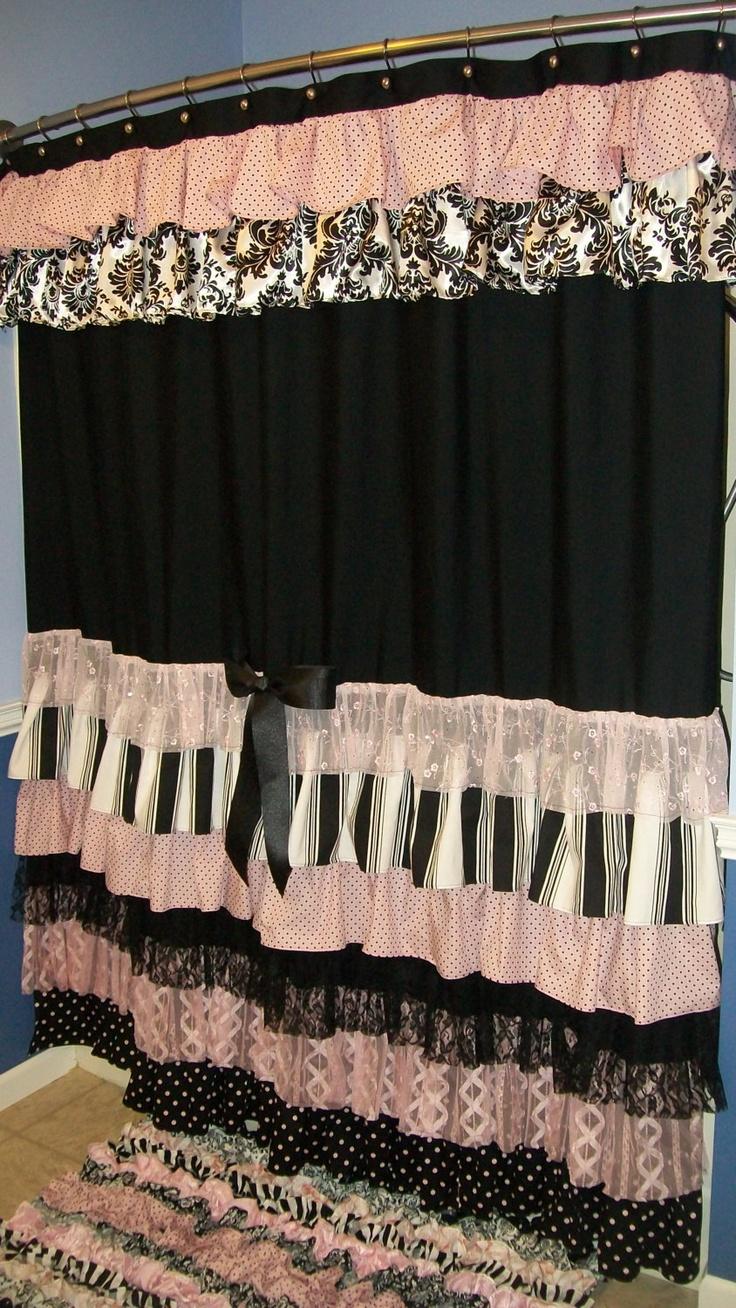 Black ruffle curtains - Shower Curtain Cascading Ruffles Custom Made Designer Fabric Black Pink White Damask Stripes Dots Lace