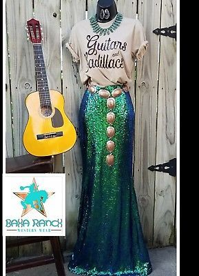 Cowgirl gypsy skirt Sequin mermaid holiday green blue vegas Maxi Western Large