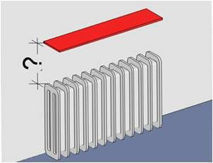 radiator shelf distance